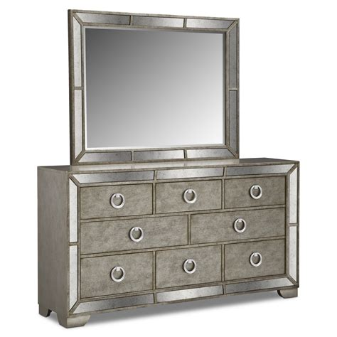 dresser and mirror metallic value city furniture