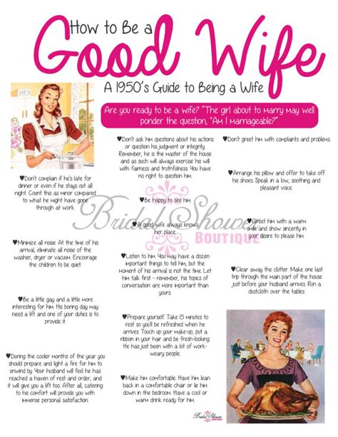 how to be a good wife to your husband hubpages 1950 s how to be a good wife bridal shower game pink fun