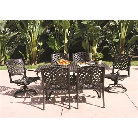 Patio Dining Sets For Two Darlee Nassau 7 Patio Dining Set In Antique Bronze