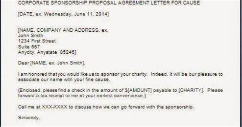 Sponsorship Letter Of Acceptance Sponsorship Acceptance Letter Format