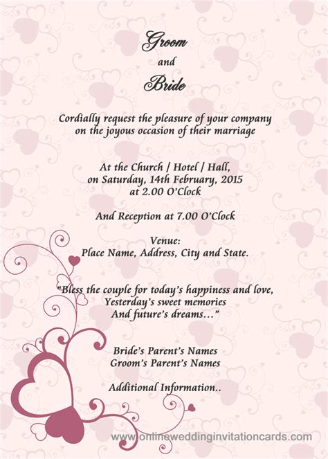 Interior Design Ideas For Home Wedding Invitations Cards Rectangle Potrait Pink Puple