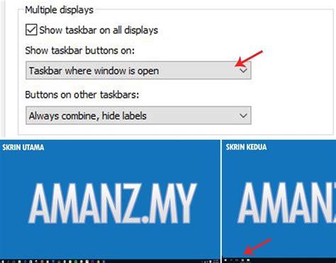 tutorial windows 10 indonesia bagaimana membuang taskbar ganda pada multi screen