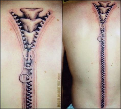 15 fascinating awesome spine zipper tattoos idea