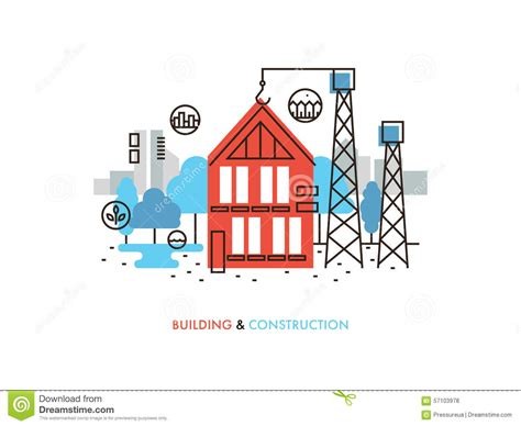 process of layout of a building construction building flat line illustration stock vector