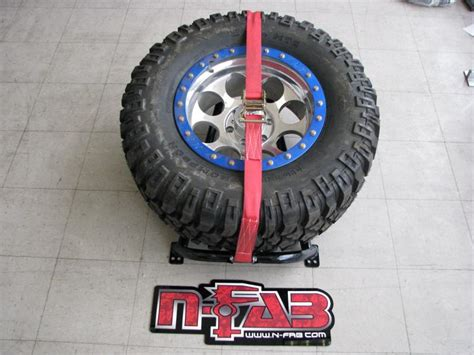 truck bed spare tire mount n fab bm1tcrd truck bed mounted spare tire carrier red ebay