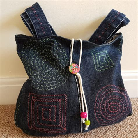Handmade Denim Bags - handmade denim bag ii 7483 stall craft collective