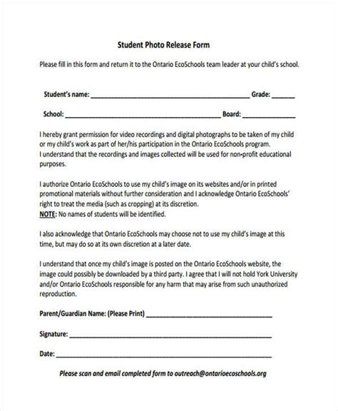 photo release form template release form templates