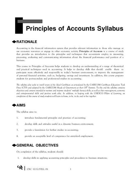 cpa section 1 syllabus csec principles of accounts syllabus