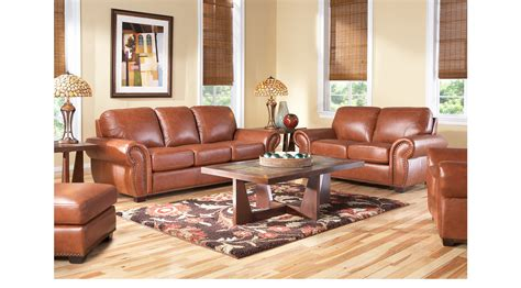 Lightweight Living Room Furniture 2 188 00 Balencia Light Brown Leather 5 Pc Living Room Classic Traditional