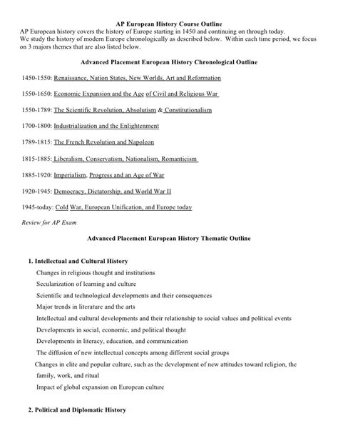 History Course Outline by 1 Ap Chronological And Thematic Outline