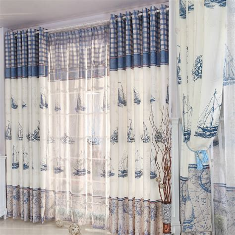 nautical curtain refreshing blue white poly cotton nautical curtains