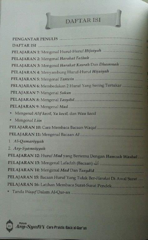 Buku Cara Praktis Baca Al Quran Metode Asy Syafii Edisi Iqra buku metode asy syafi i cara praktis baca al qur an kelas iqra