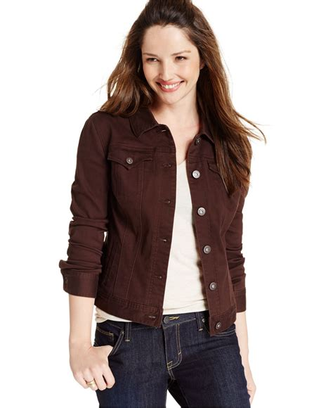 colored jean jackets lyst style co colored denim jean jacket in brown