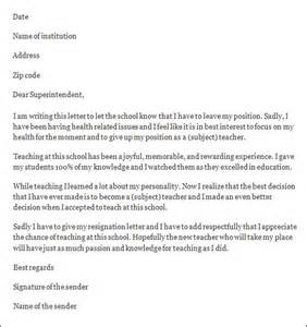 How To Write A Resignation Letter For Teachers by Resignation Letter Resignation Letter Sle Sle Templates