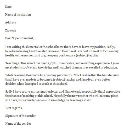 resignation letter teacher resignation letter sle