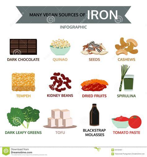 alimenti ricchi di ferro vegan many vegan sources of iron food info graphic vector