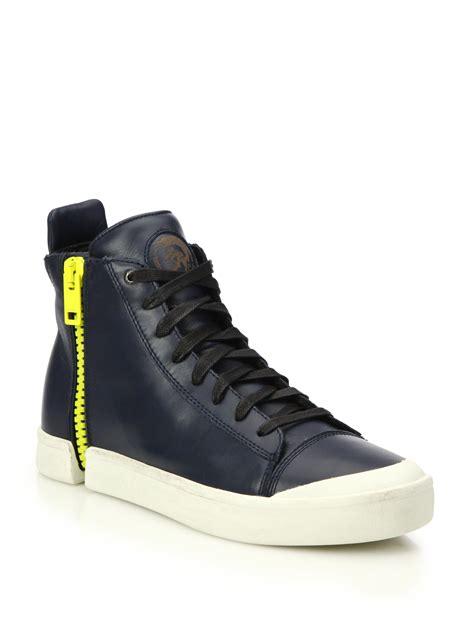 diesel high top shoes lyst diesel nentish zip around leather high top sneakers