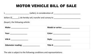 Free Printable Motorcycle Bill Of Sale Form Generic Motor Vehicle Bill Of Sale Template