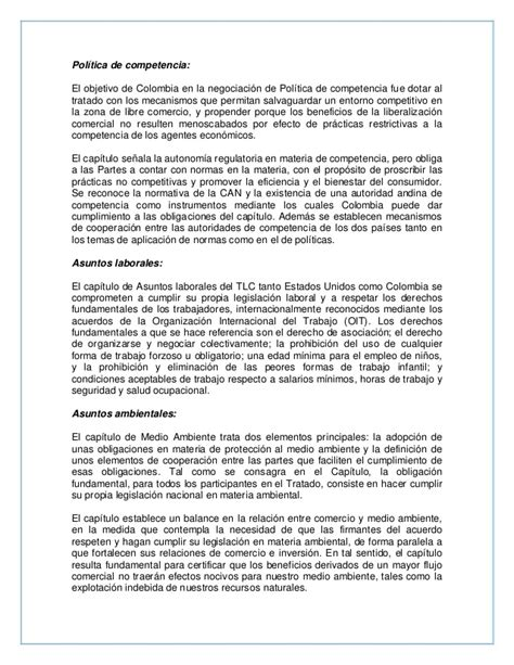 Resume Colombia by Resumen Tlc Colombia Eeuu