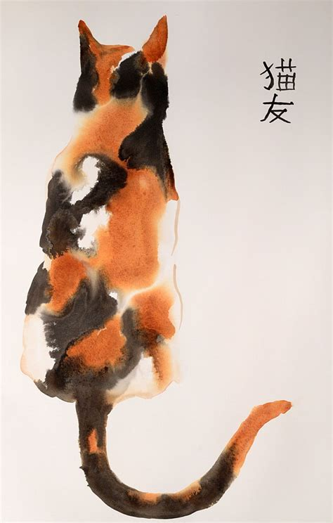 calico cat painting beautiful calico cat original ink and watercolor mixed