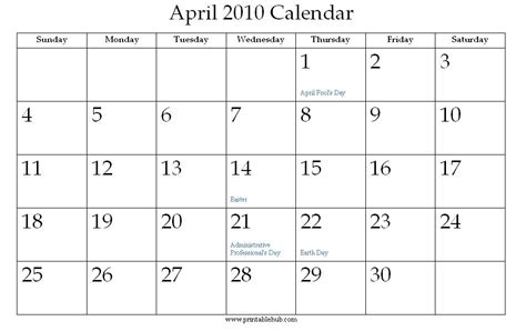 April 2010 Calendar Printable April 2010 Calendar 9jasports