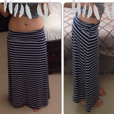 navy blue white stripe maxi skirt 0 from s closet