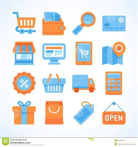 Design Your Kitchen Online Free flat icon set of shopping symbols stock vector image