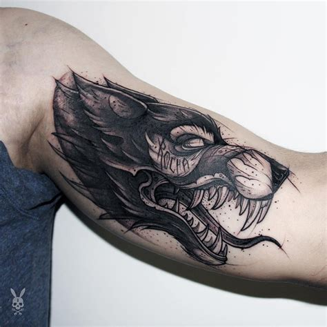 snarling wolf tattoo designs scary wolf sketch style best design ideas