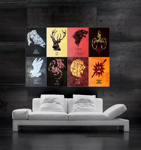 game of thrones home decor game of thrones symbols of houses flags poster by