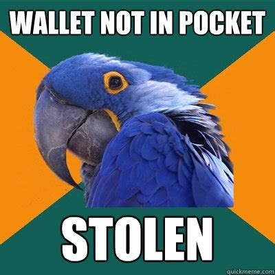 Meme Wallet - wallet not in pocket stolen paranoid parrot quickmeme