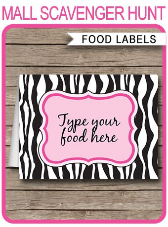 Pink Zebra Printable Food Labels Place Cards Pink Zebra Theme Zebra Label Templates