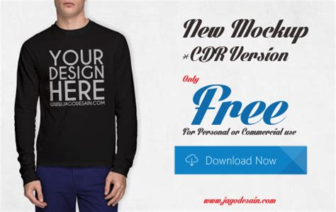 desain baju kaos lengan panjang cdr download gratis t shirt mockup lengan panjang cdr