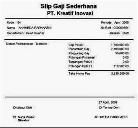 image result for contoh slip gaji karyawan sulawesi