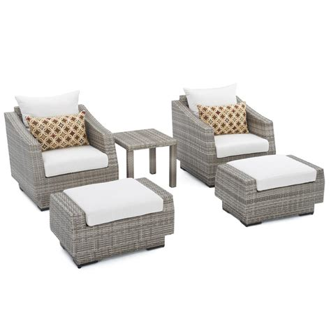 Rst Brands Cannes 5 Piece Wicker Patio Club Chair And Club Chair And Ottoman Set