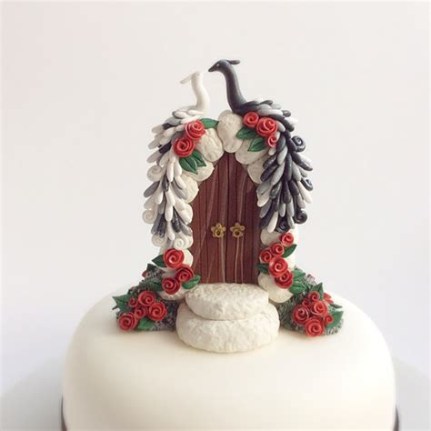 Peacock Wedding Cake Topper In Black And White With Red