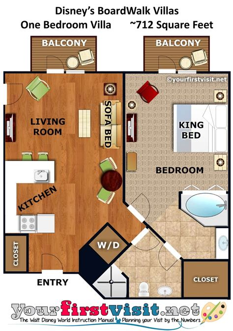 Disney Club 2 Bedroom Villa Floor Plan - accommodations and theming at disney s boardwalk villas