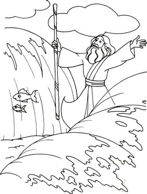 Moses Parting The Red Sea Coloring Page Coloring Home Parting Of The Sea Coloring Page