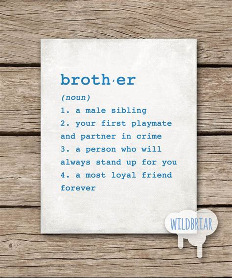 printable brother quotes printable wall art brother dictionary definition 8x10