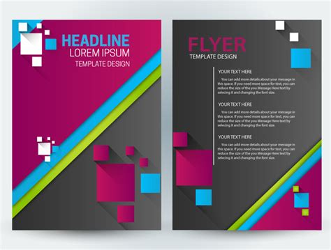Flyer Template Design With Squares Illustration Free Vector In Adobe Illustrator Ai Ai Adobe Illustrator Flyer Templates