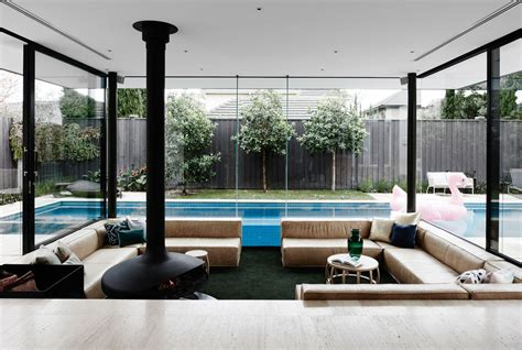 living lounge a sunken lounge room surrounded by a pool is the