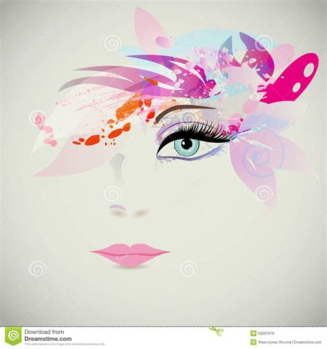 Woman Face With Design Elements, Fashion Concept. Vector Stock Vector   Image: 50297678