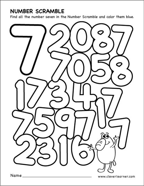 Number 7 Coloring Pages For Preschoolers by 89 Number 7 Coloring Pages For Preschoolers Math