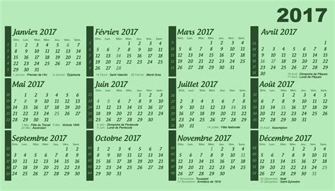 Calendrier Semaine 2017 Calendrier 2017 Avec Num 233 Ro De Semaine Et Vacances 2017