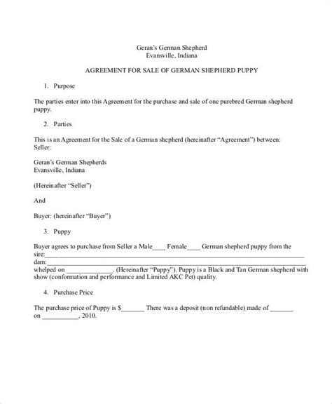 puppy sale contract pdf sle puppy sales contract 9 exles in word pdf