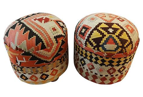 kilim covered ottoman antique kilim covered ottomans pair on onekingslane