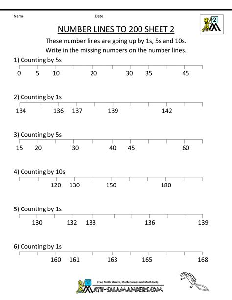pattern number line worksheet number line practice 3rd grade number line to 200 sheet