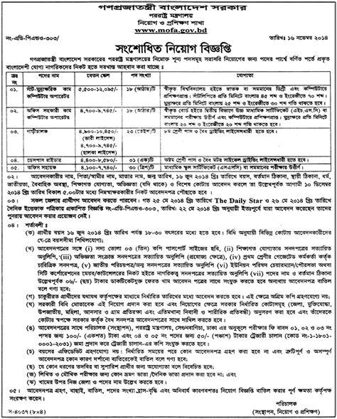 Mofa Dhaka by Ministry Of Foreign Affairs Circular In Bangladesh