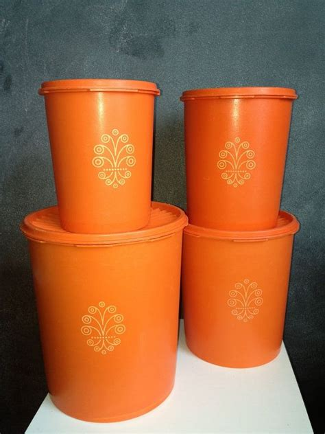 Tupperware Canister Gold vintage tupperware storage canister set tupperware
