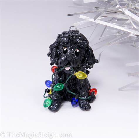 cockapoo ornament black christmas lights by themagicsleigh