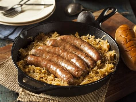 brats n beer recipe bratwurst and sauerkraut recipe cdkitchen